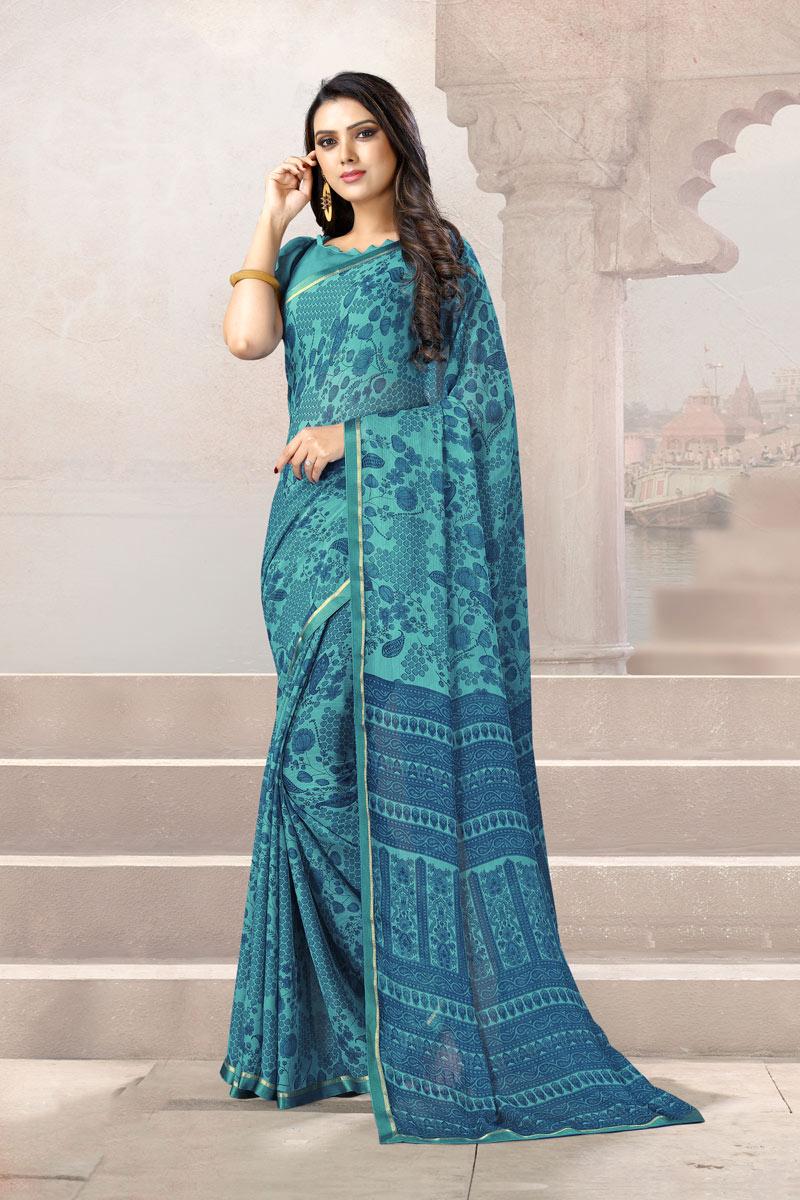 Light Turquoise Color Chiffon Fabric Casual Wear Uniform Saree