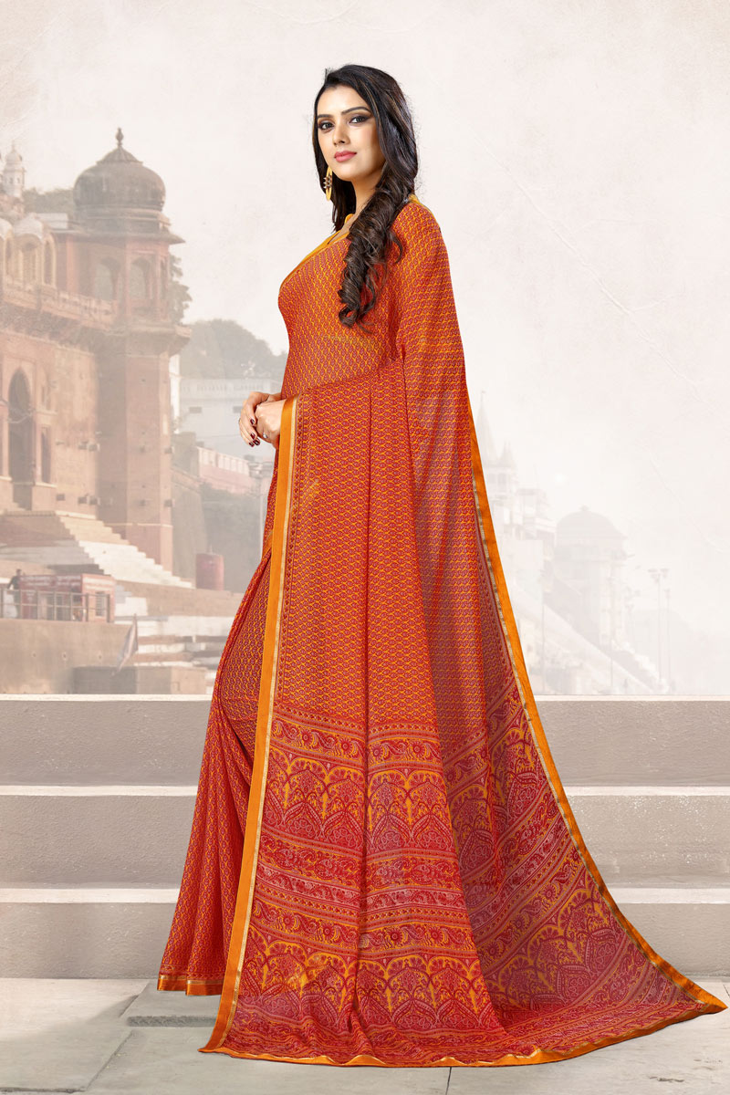 Rust Color Fancy Uniform Saree With Printed On Chiffon Fabric