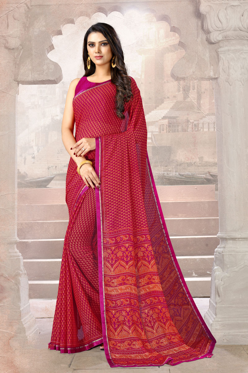Printed Office Wear Uniform Saree In Dark Pink Color Chiffon Fabric