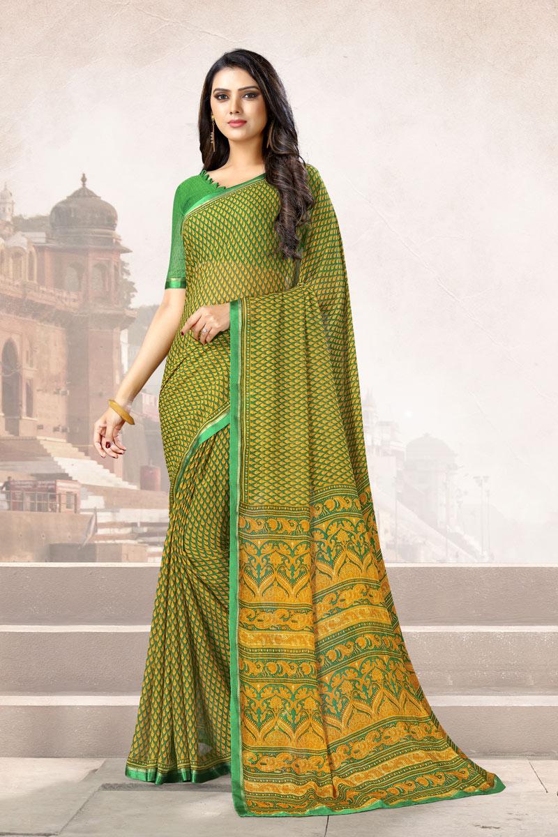 Chiffon Fabric Daily Wear Printed Uniform Saree In Green Color