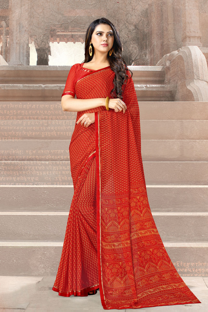 Fancy Red Color Chiffon Fabric Daily Wear Printed Uniform Saree