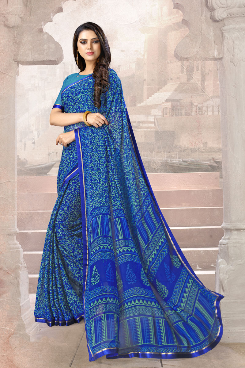 Blue Color Chiffon Fabric Casual Wear Printed Uniform Saree