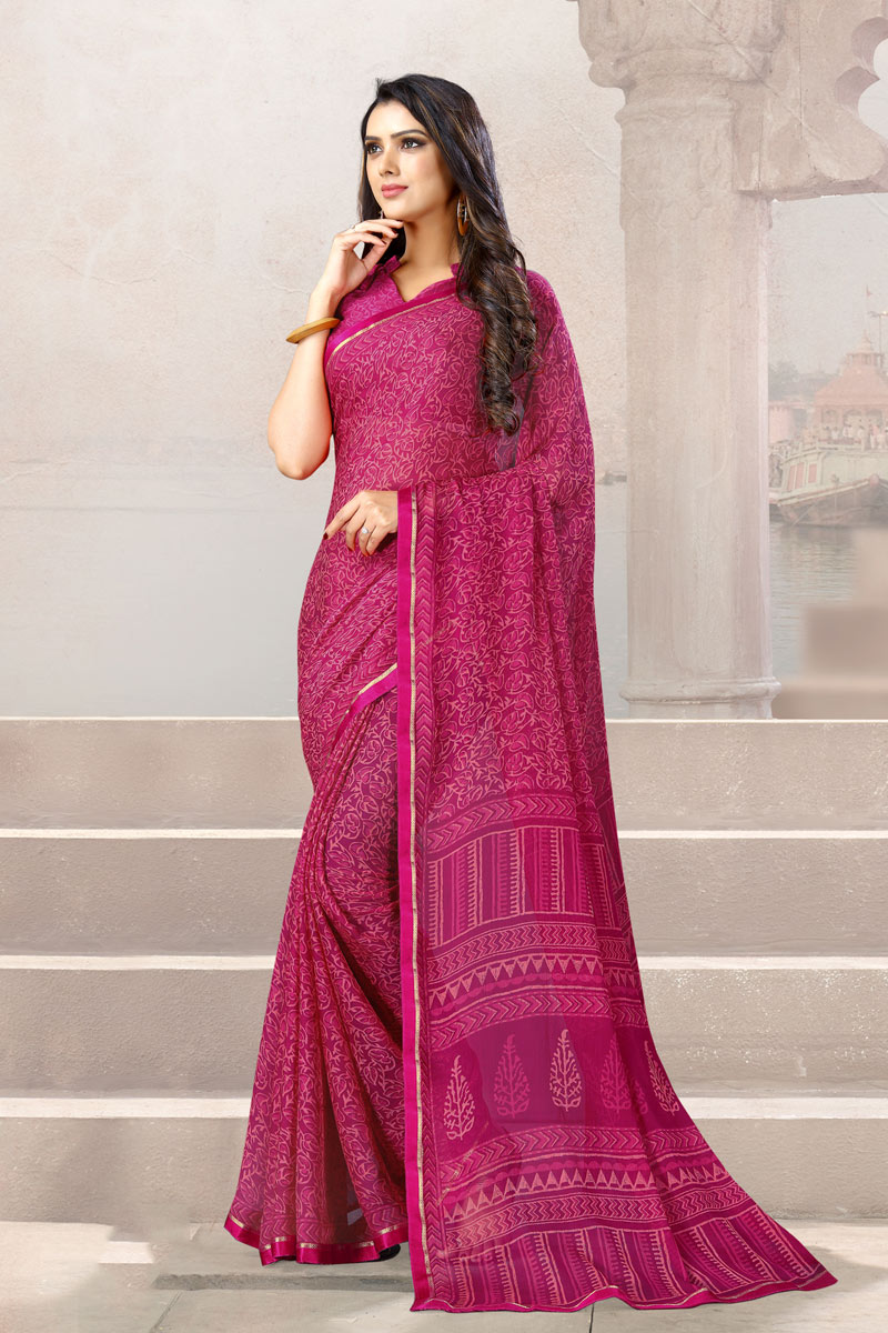 Chiffon Fabric Rani Color Fancy Printed Uniform Saree With Blouse