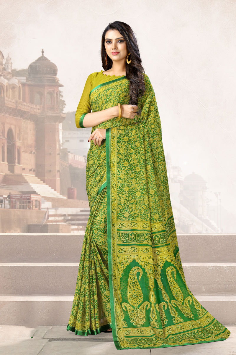 Printed Chiffon Fabric Green Color Office Wear Uniform Saree With Blouse