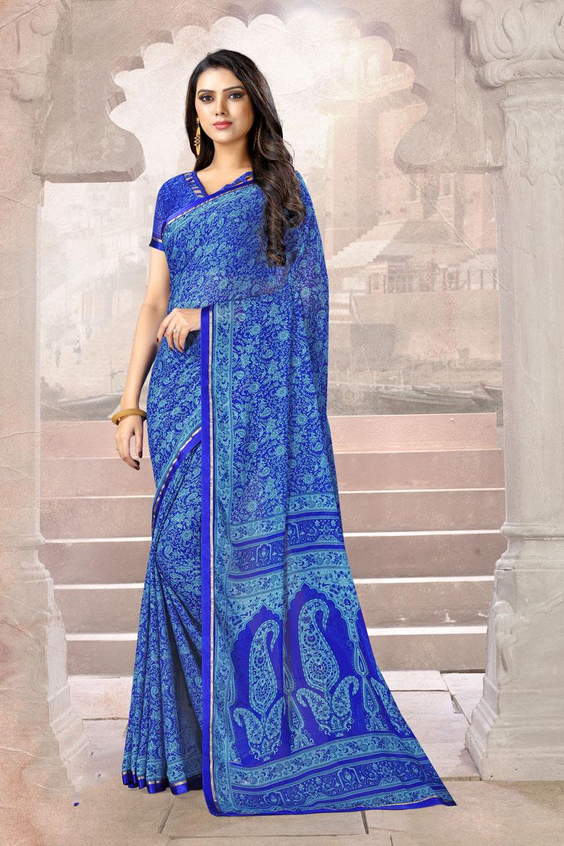 Chiffon Fabric Blue Color Daily Wear Uniform Saree