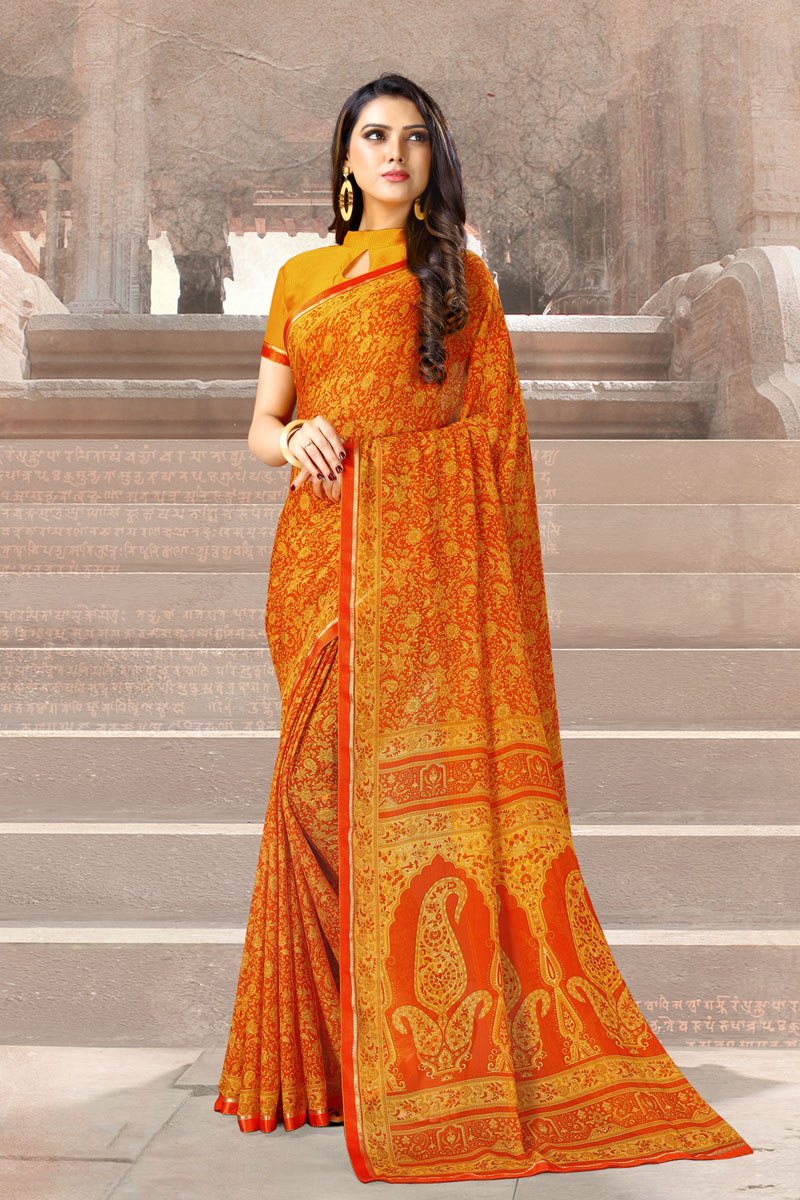 Casual Wear Orange Color Printed Uniform Saree In Chiffon Fabric