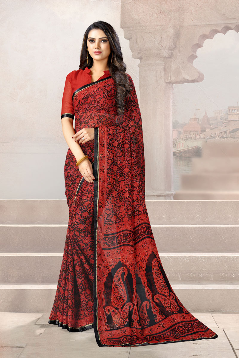 Printed Office Wear Uniform Saree In Red Color Chiffon Fabric