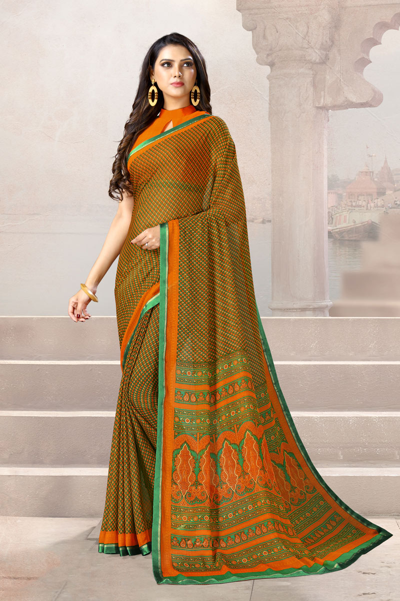 Orange Color Chiffon Fabric Fancy Printed Daily Wear Uniform Saree