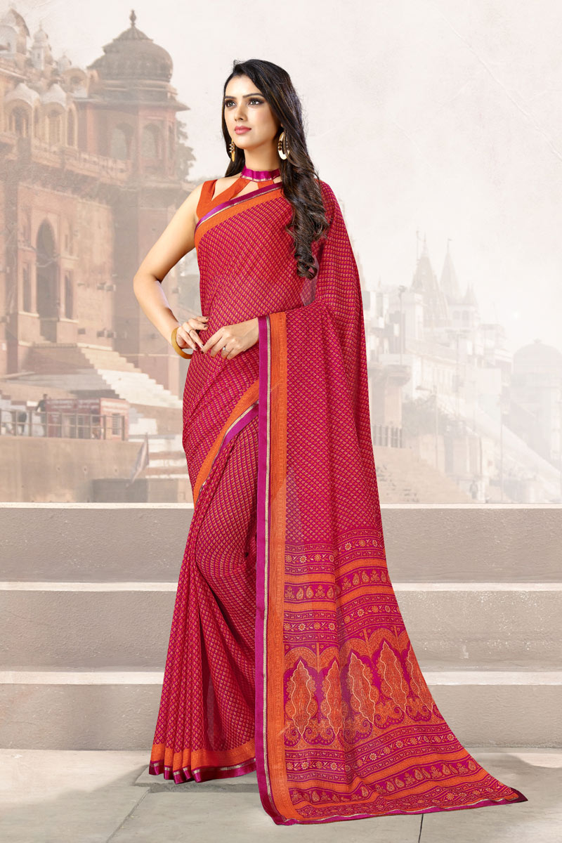 Dark Pink Color Chiffon Fabric Printed Uniform Saree