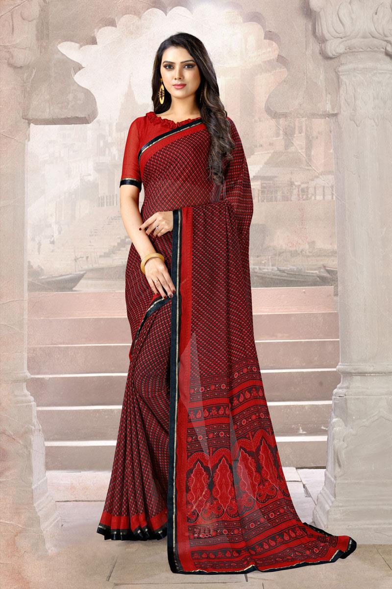 Printed Chiffon Fabric Red Color Casual Wear Uniform Saree