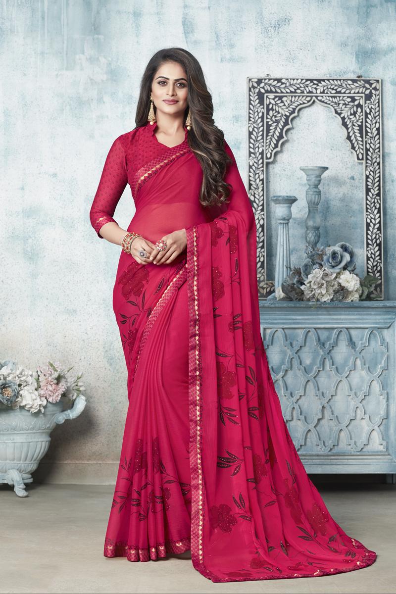 Dark Pink Color Puja Wear Printed Saree In Chiffon Fabric