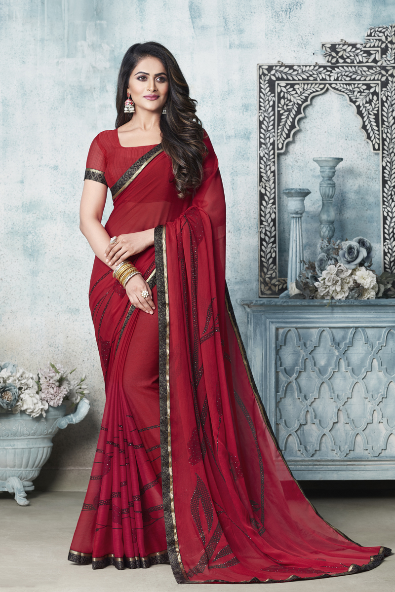 Fancy Chiffon Fabric Red Color Daily Wear Printed Saree