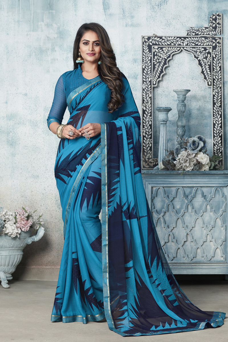Casual Wear Fancy Printed Saree In Chiffon Fabric Sky Blue Color