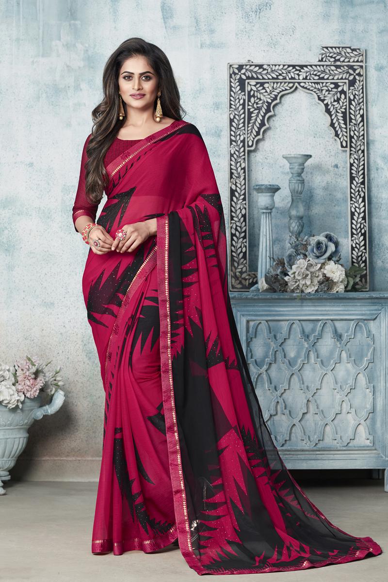 Fancy Chiffon Fabric Rani Color Printed Daily Wear Saree