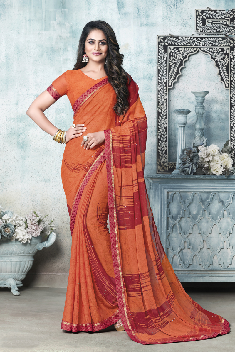 Chiffon Fabric Rust Color Daily Wear Fancy Printed Saree