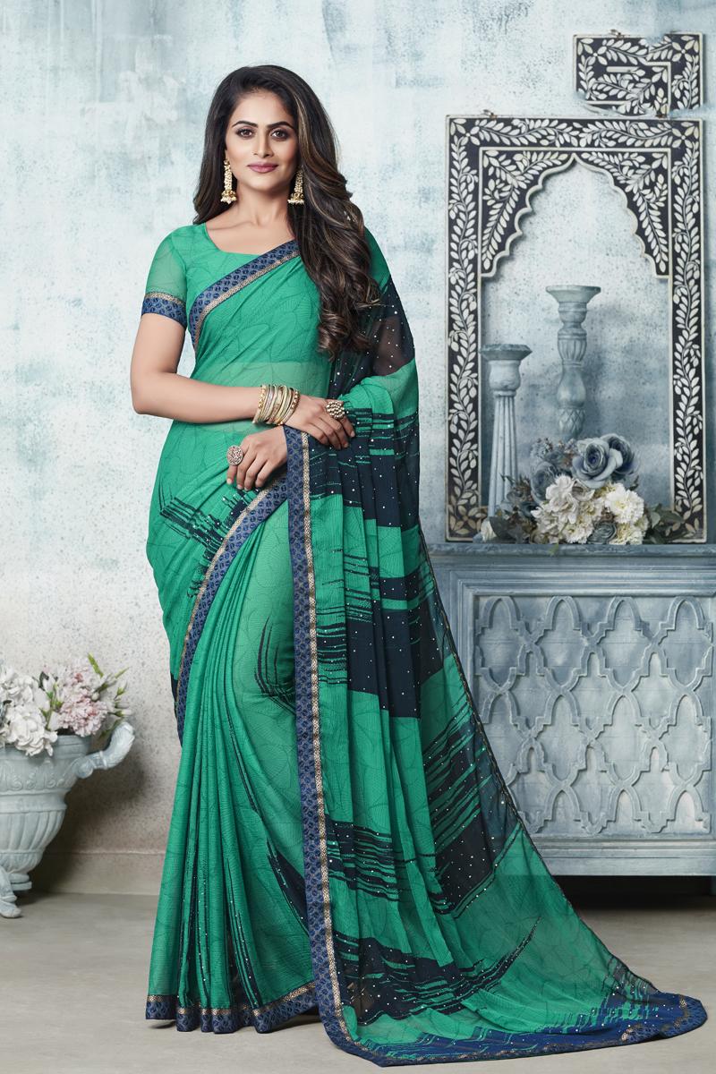 Chiffon Fabric Office Wear Sea Green Color Printed Saree