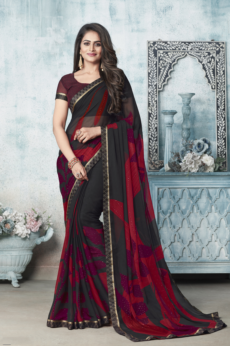 Fancy Chiffon Fabric Printed Daily Wear Black And Red Color Saree