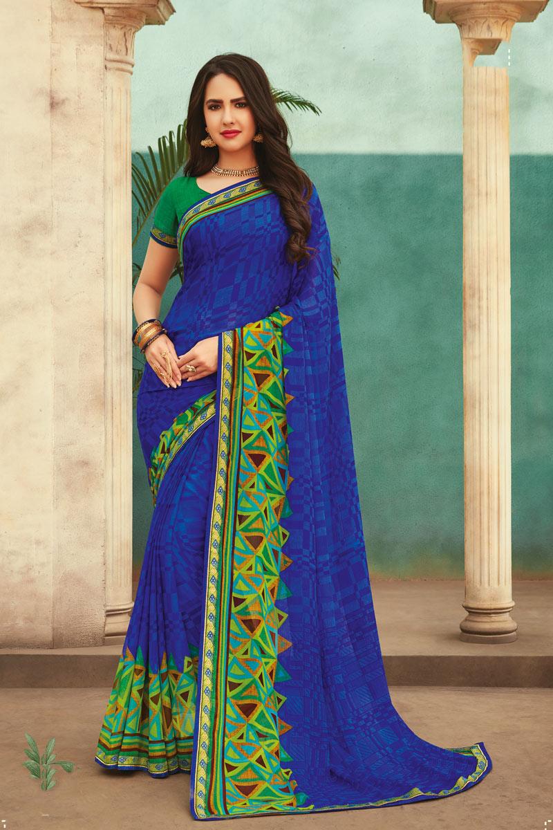Blue Color Chiffon Fabric Casual Wear Saree