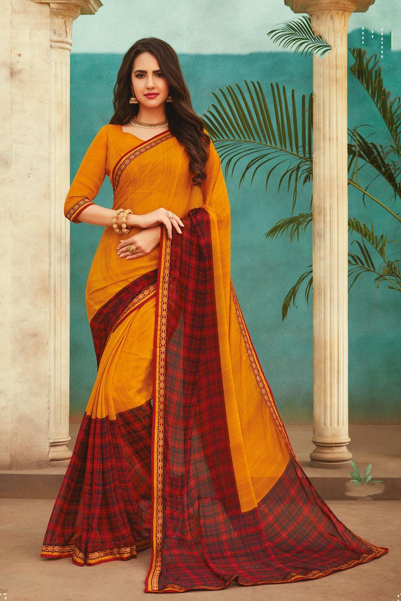 Orange Color Chiffon Fabric Occasion Wear Saree