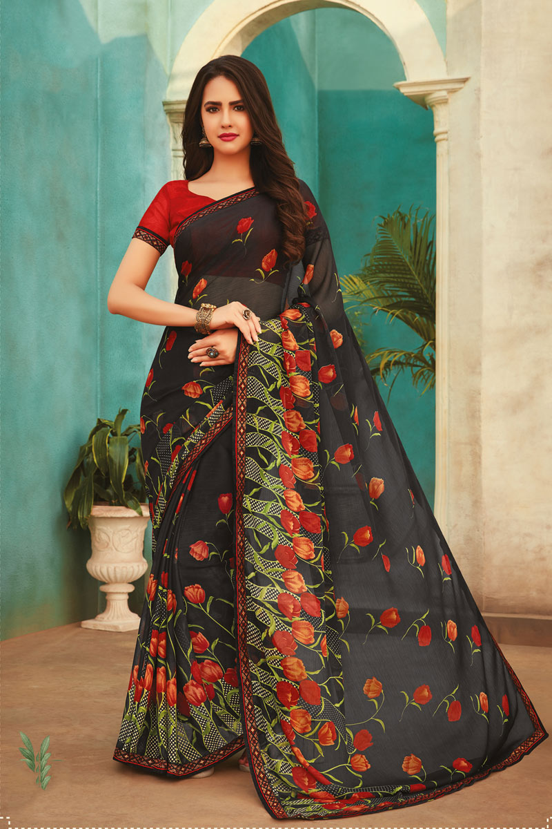 Fancy Black Color Chiffon Fabric Daily Wear Printed Saree