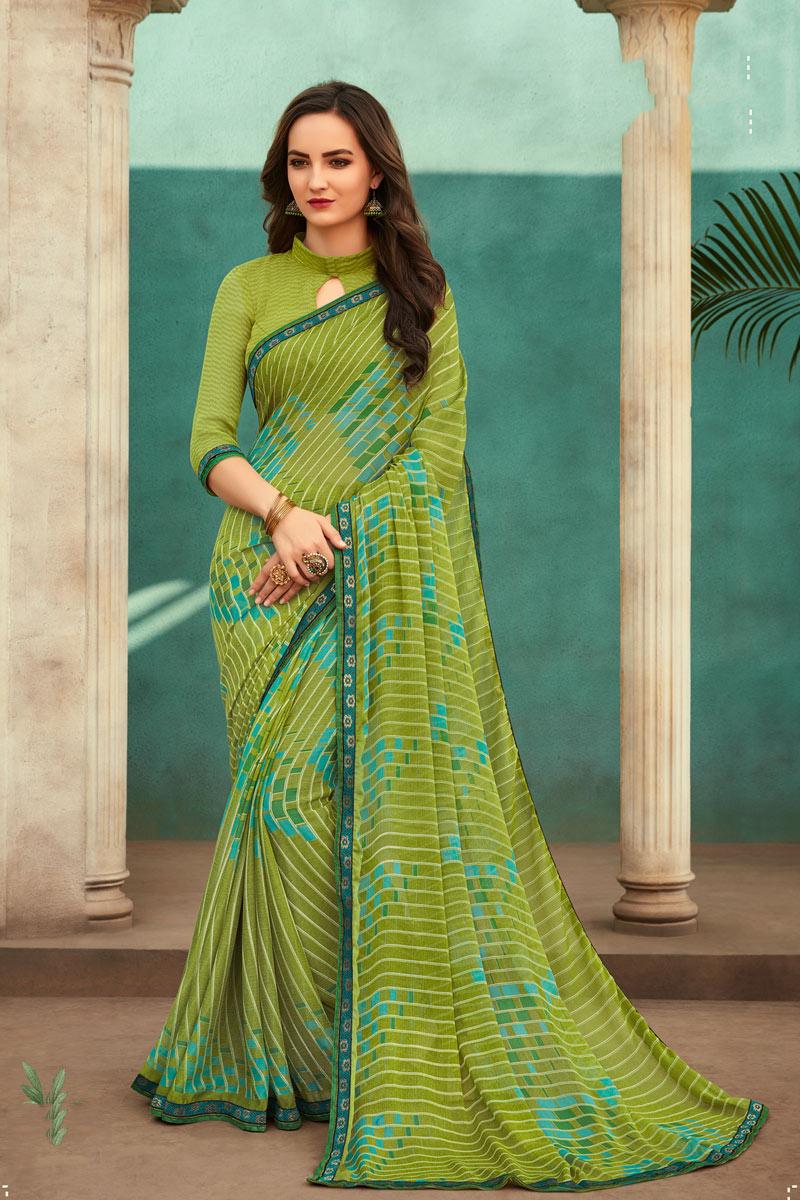 Chiffon Fabric Green Color Fancy Printed Saree