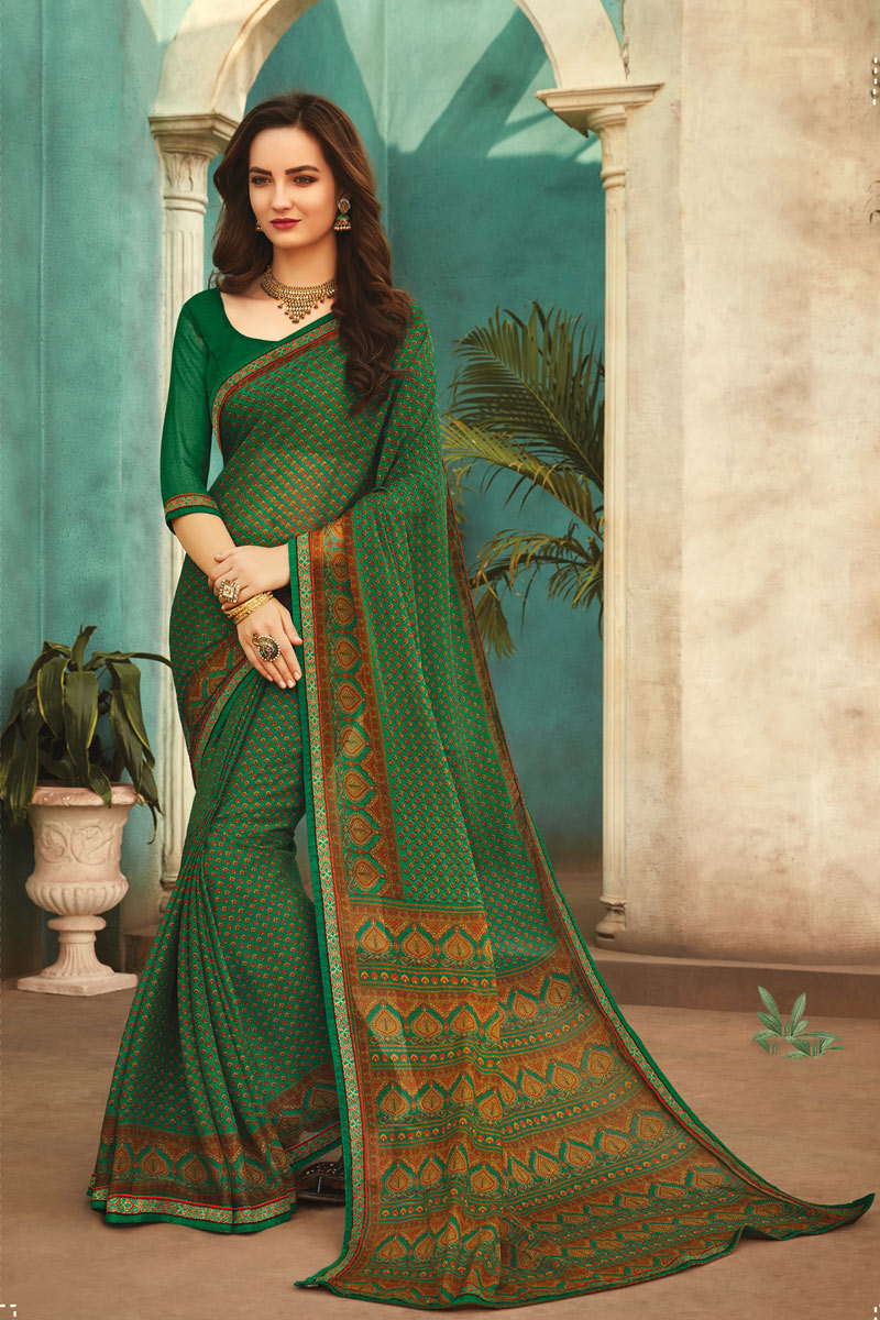 Office Wear Fancy Printed Saree In Green Color Chiffon Fabric