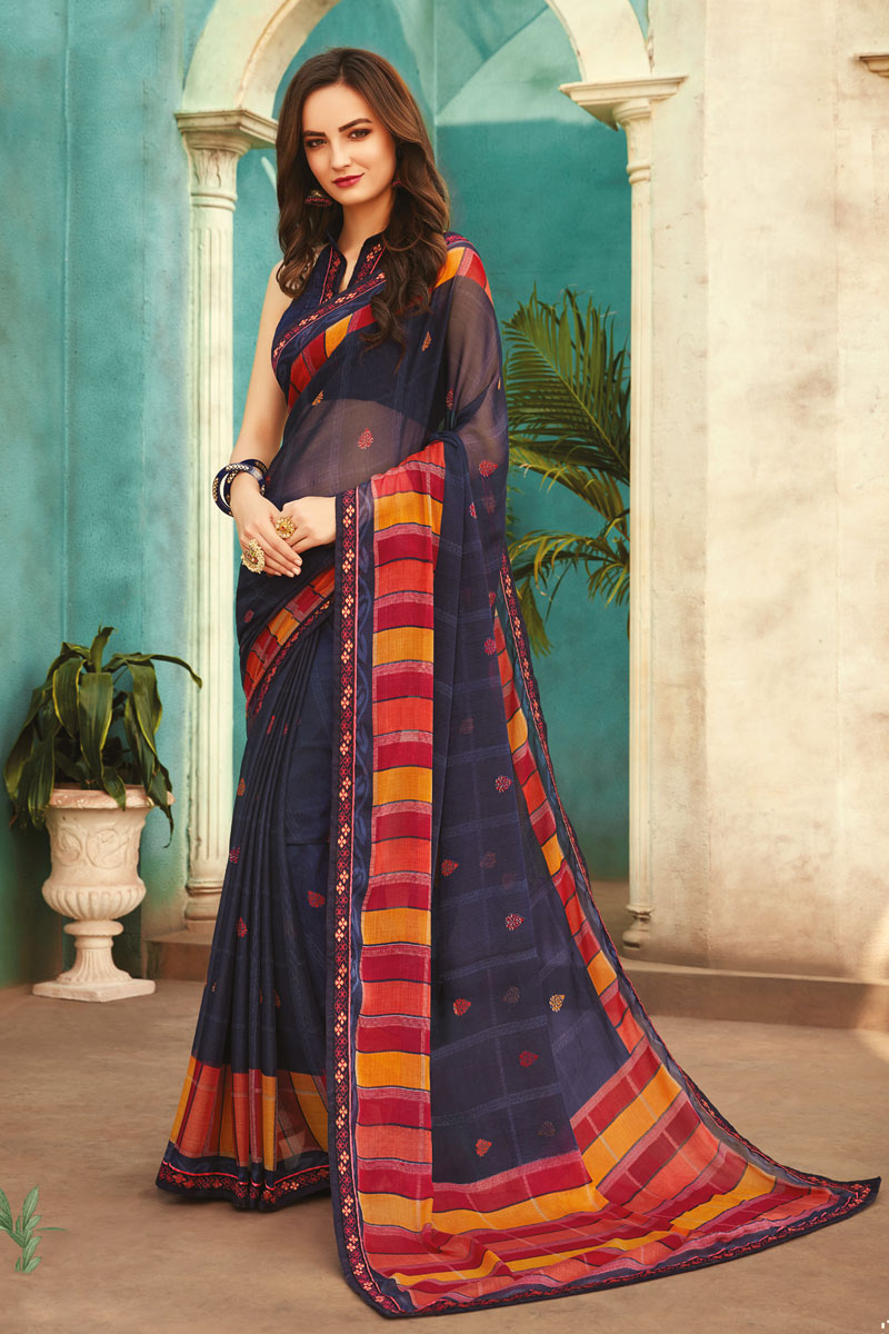 Navy Blue Color Fancy Saree With Printed On Chiffon Fabric
