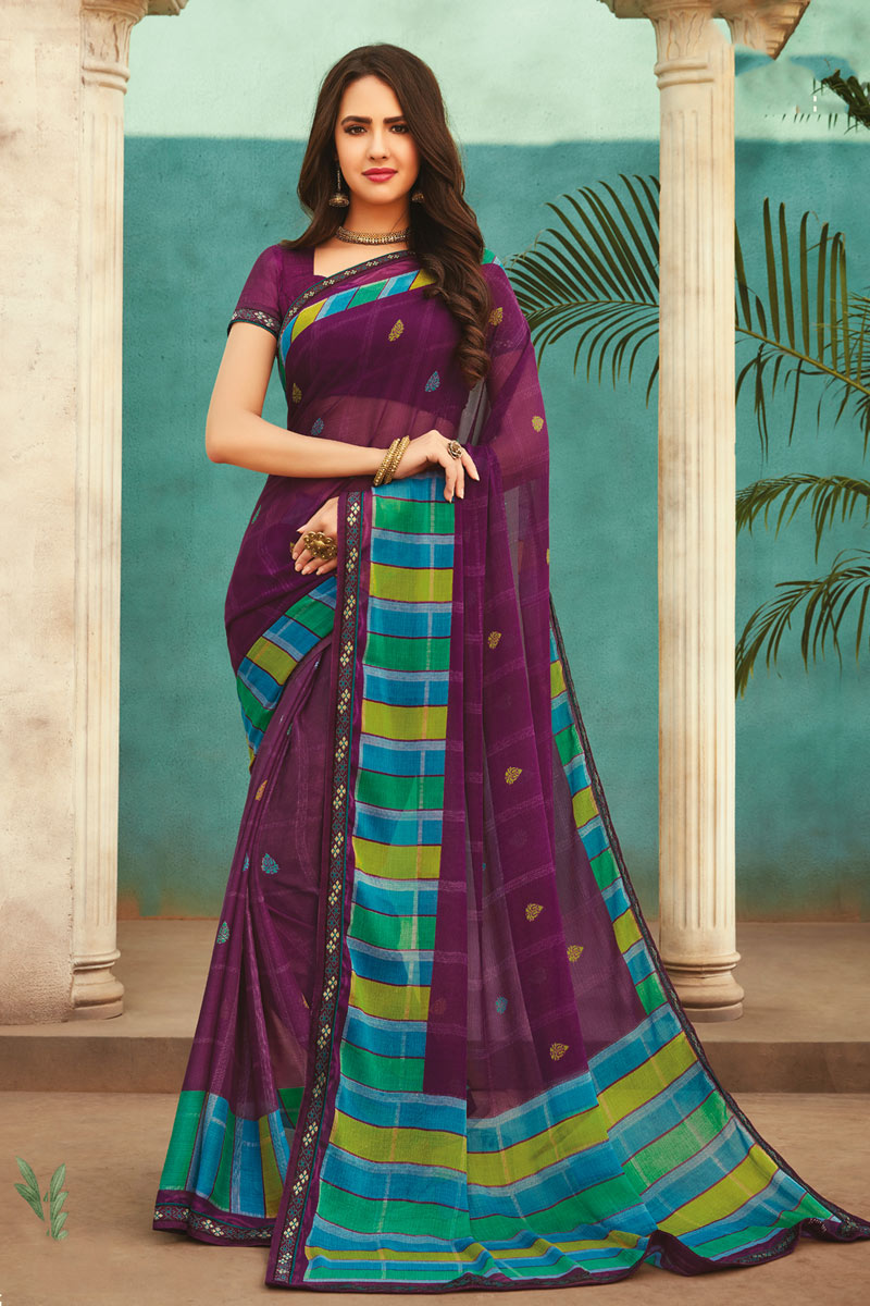 Printed Office Wear Saree In Purple Color Chiffon Fabric