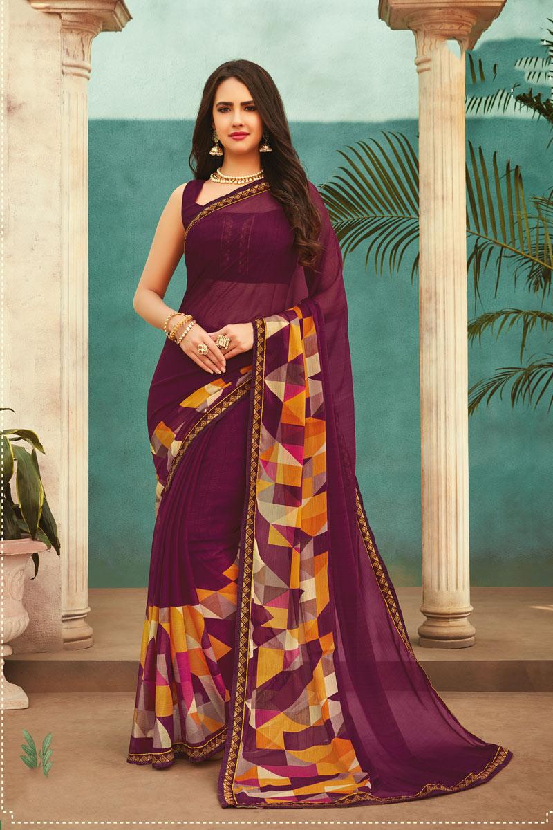Chiffon Fabric Purple Color Daily Wear Printed Saree