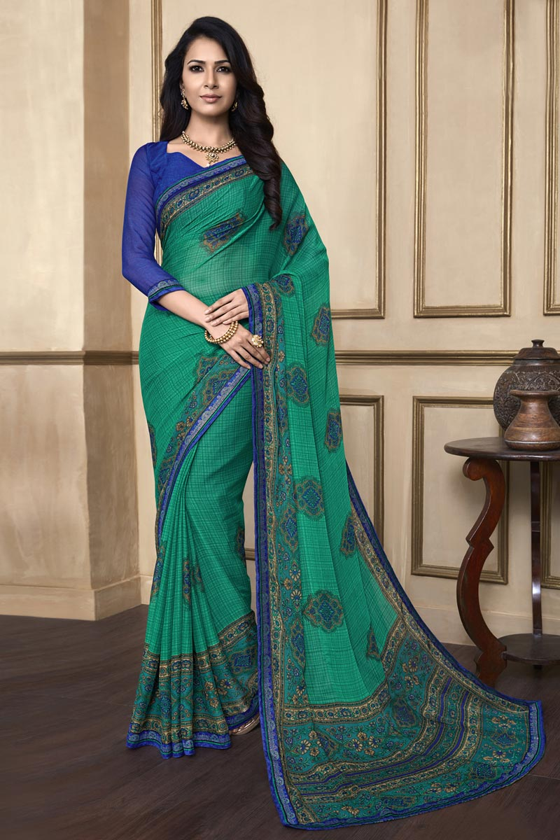 Light Turquoise Color Puja Wear Printed Saree In Chiffon Fabric