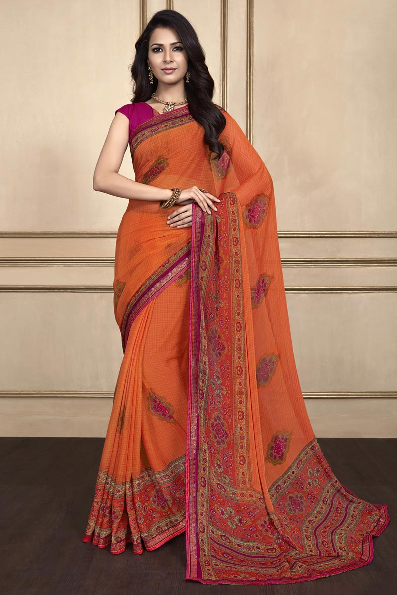 Orange Color Chiffon Fabric Fancy Printed Daily Wear Saree