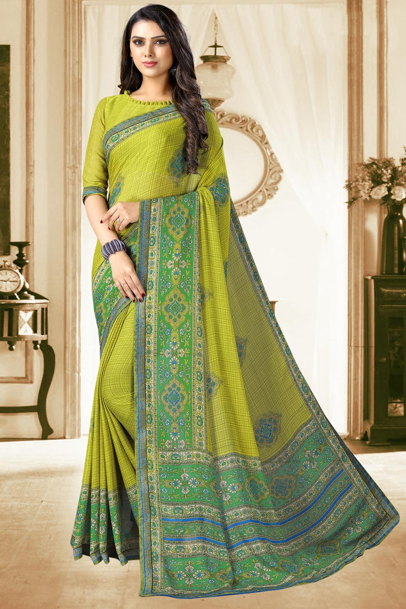 Chiffon Fabric Daily Wear Printed Saree In Green Color