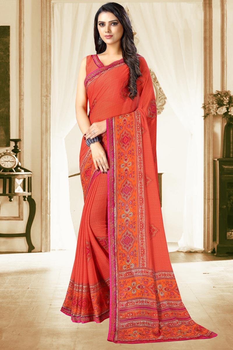 Salmon Color Casual Printed Saree In Chiffon Fabric