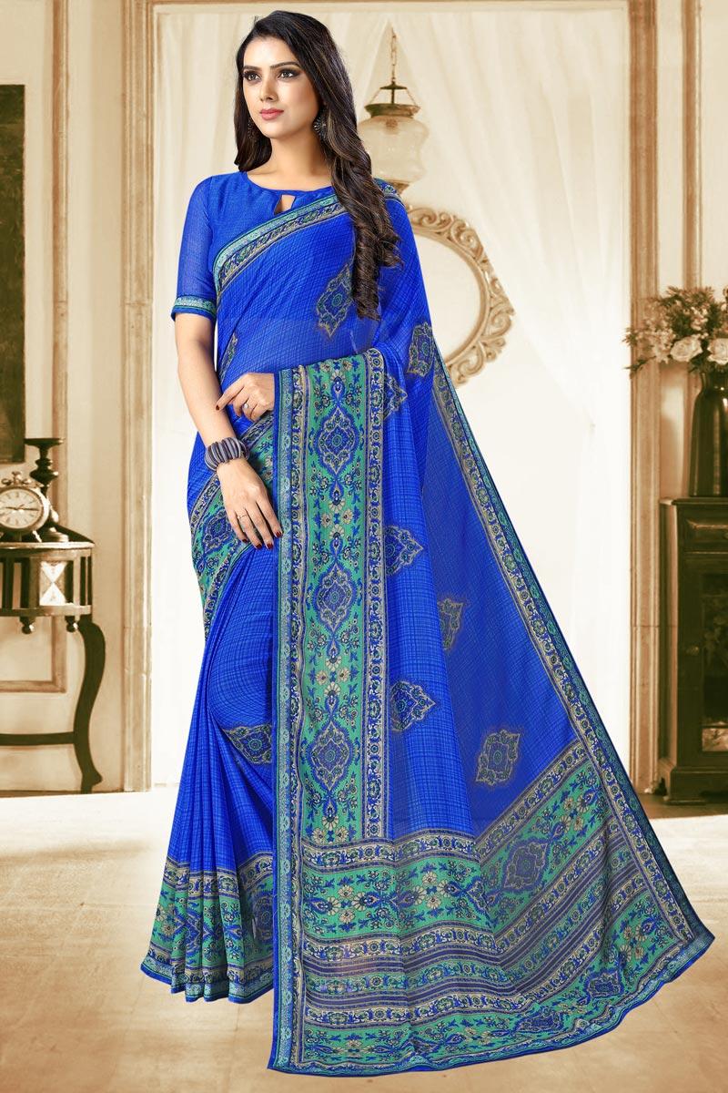 Chiffon Fabric Blue Color Daily Wear Printed Saree
