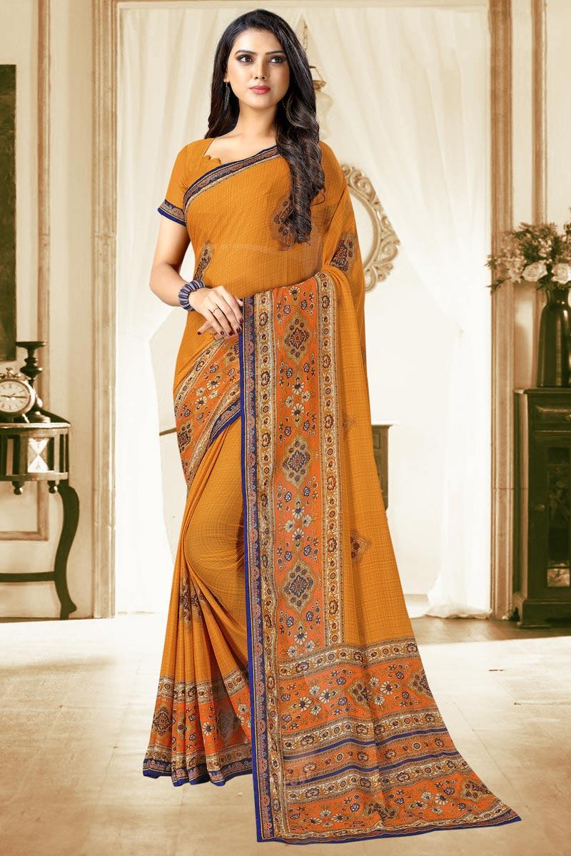 Orange Color Chiffon Fabric Regular Wear Fancy Printed Saree