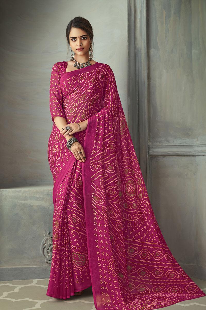 Rani Color Chiffon Fabric Fancy Bandhani Print Saree