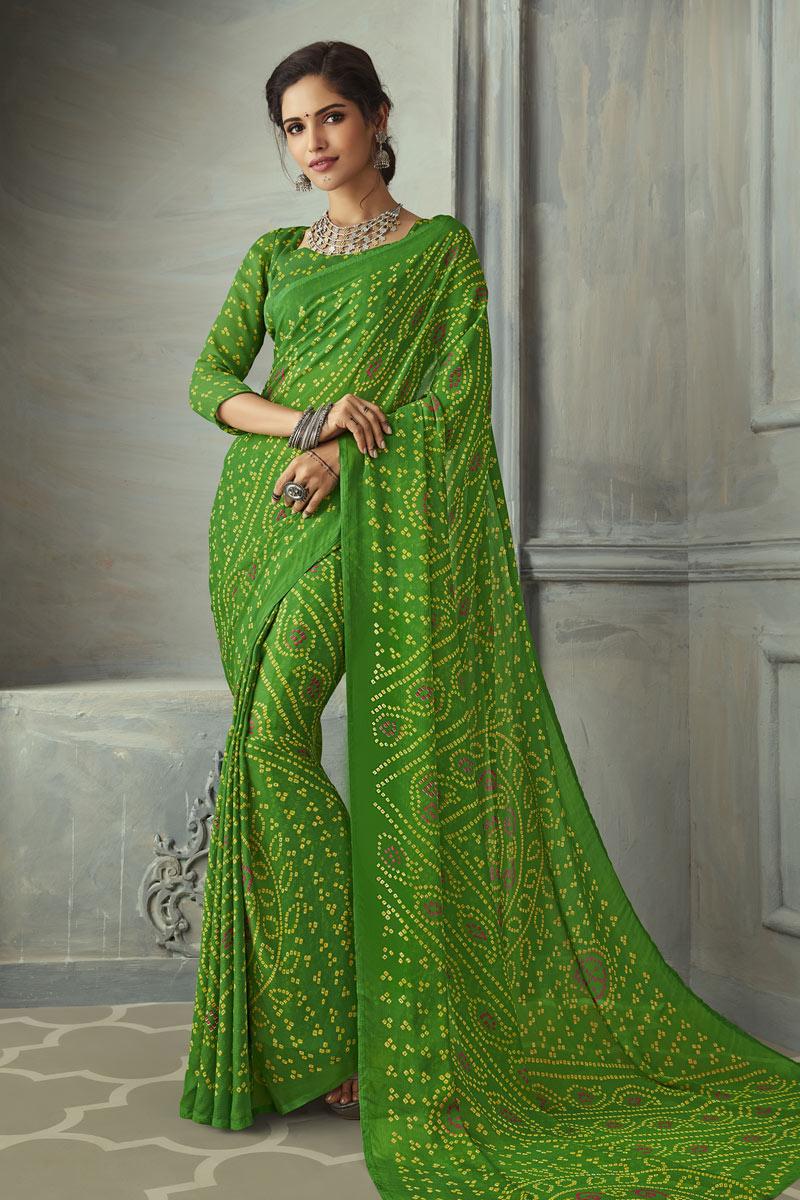 Green Color Bandhani Print Chiffon Fabric Saree