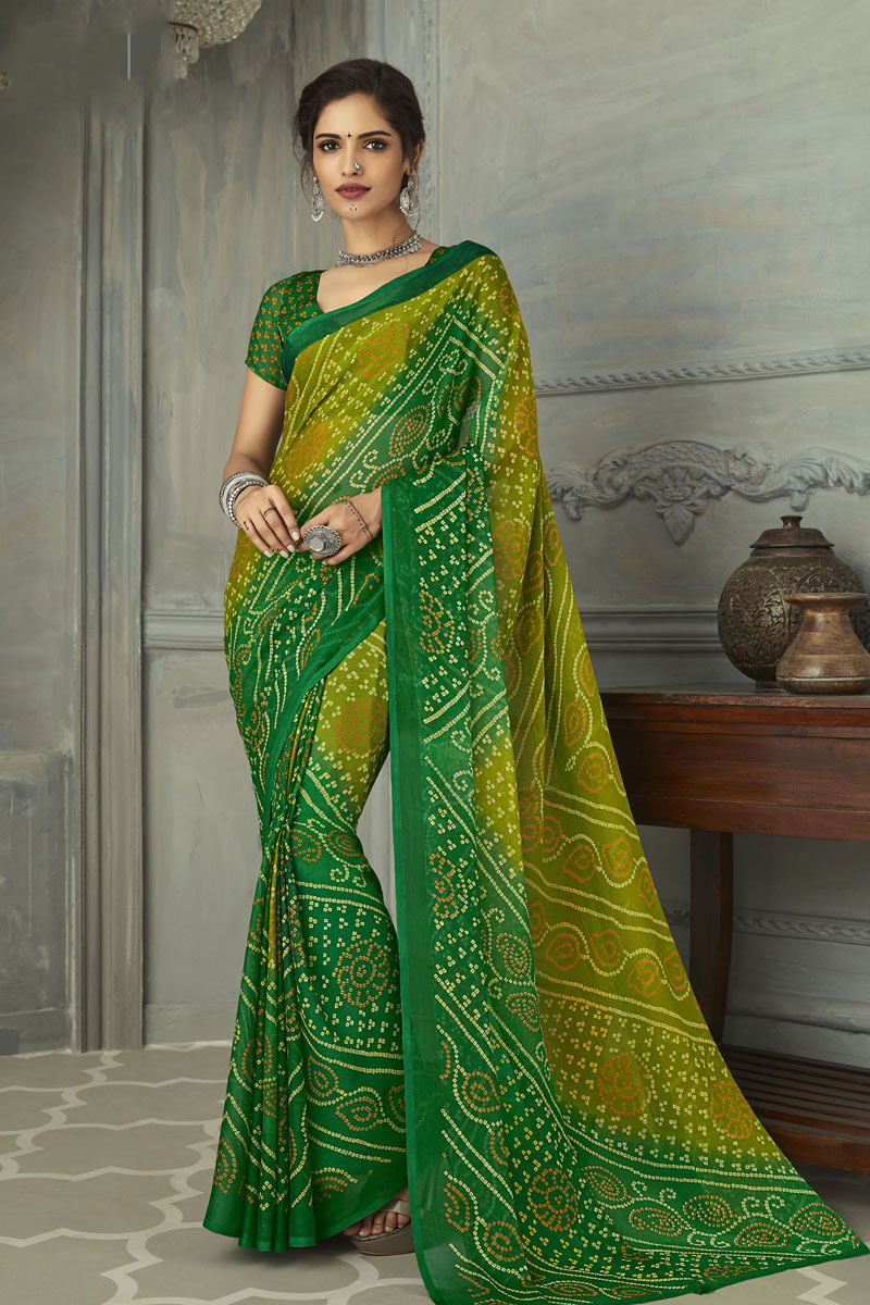 Festive Wear Chiffon Fabric Bandhani Printed Saree In Green Color