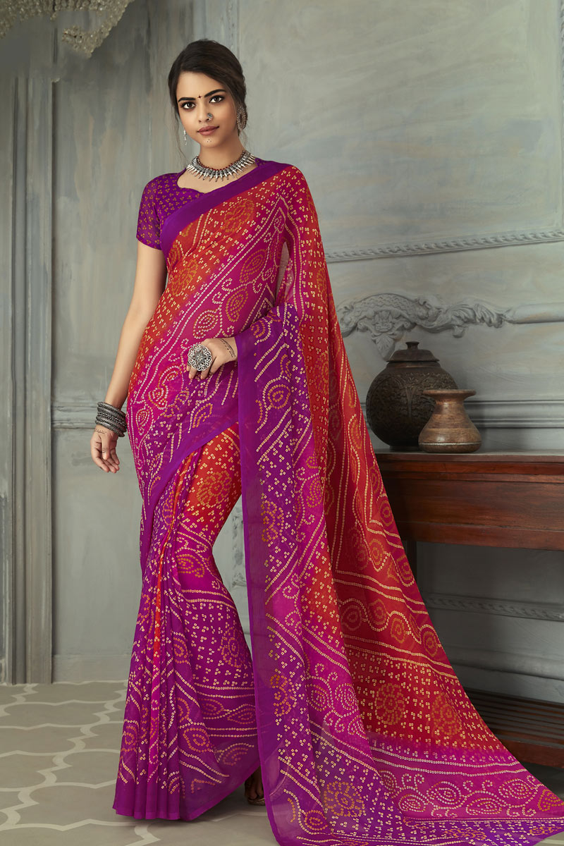 Chiffon Fabric Festive Wear Bandhani Printed Saree In Purple And Red Color