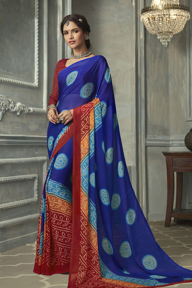 Blue Color Chiffon Fabric Casual Wear Trendy Bandhani Printed Saree