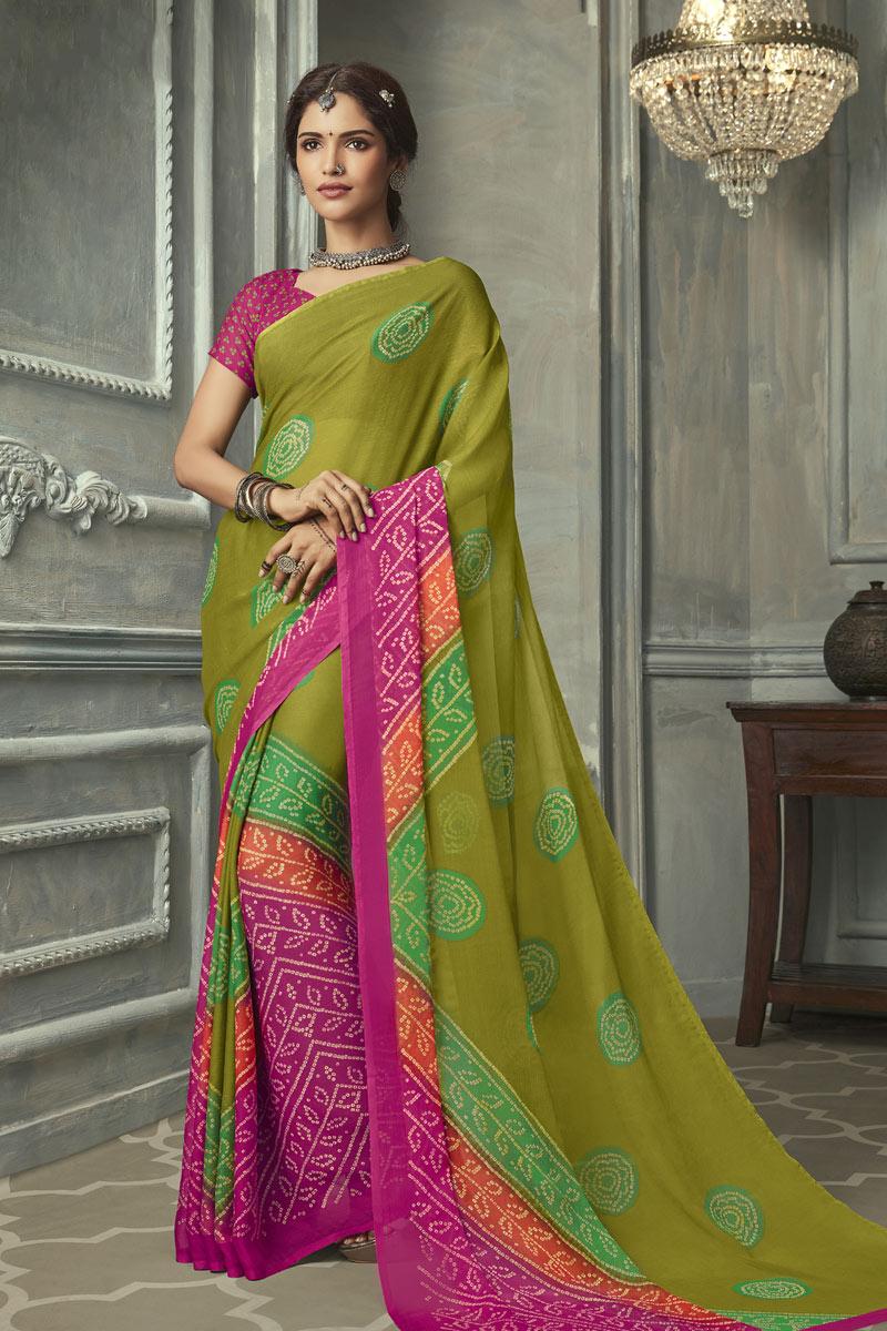 Chiffon Fabric Festive Wear Green Color Bandhani Printed Saree