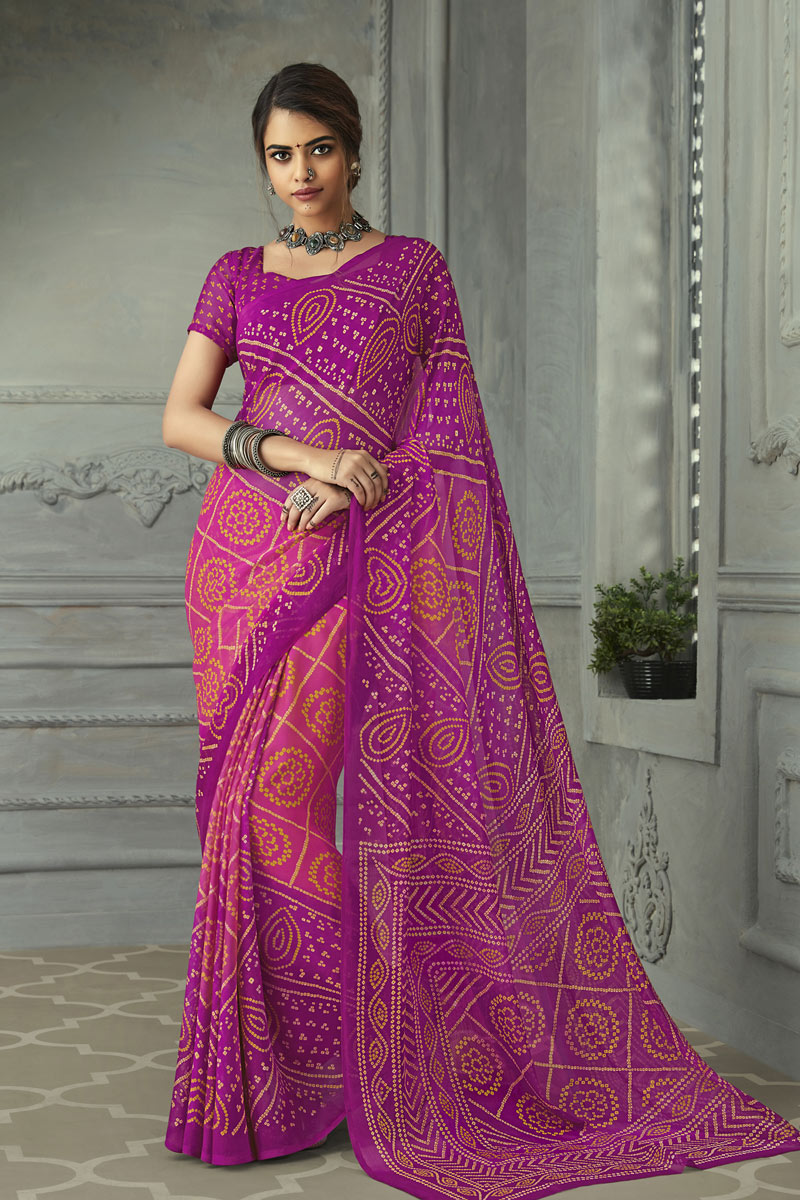 Magenta Color Chiffon Fabric Function Wear Bandhani Print Style Saree