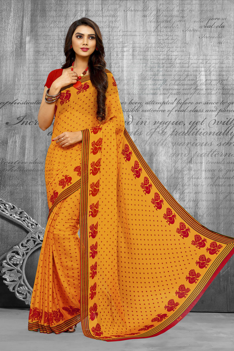 Fancy Chiffon Fabric Printed Daily Wear Yellow Color Saree
