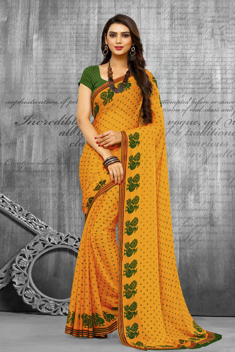 Yellow Color Fancy Chiffon Fabric Printed Daily Wear Saree