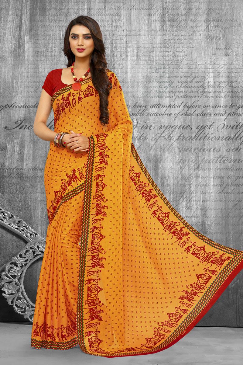 Yellow Color Regular Wear Chiffon Fabric Printed Saree