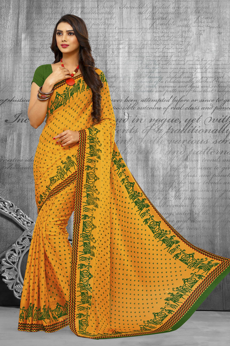 Chiffon Fabric Yellow Color Regular Wear Printed Saree