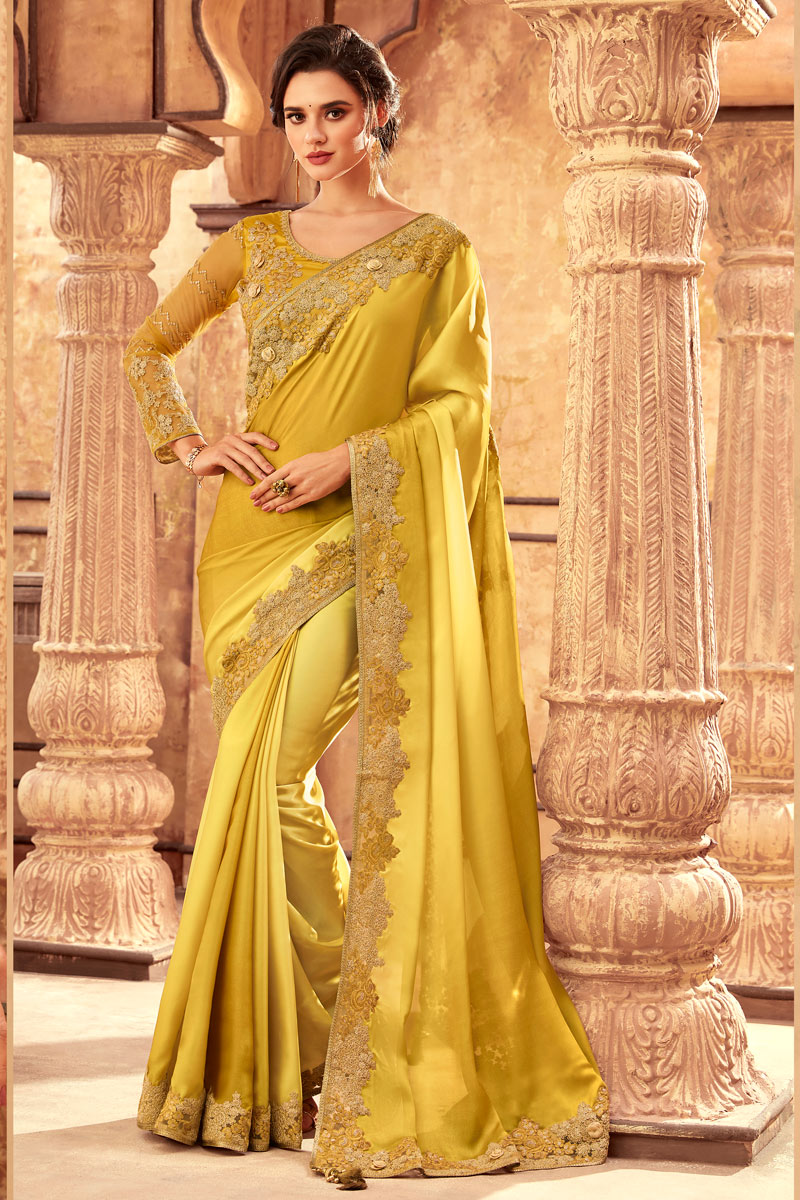 Art Silk Fabric Designer Party Wear Saree In Yellow Color