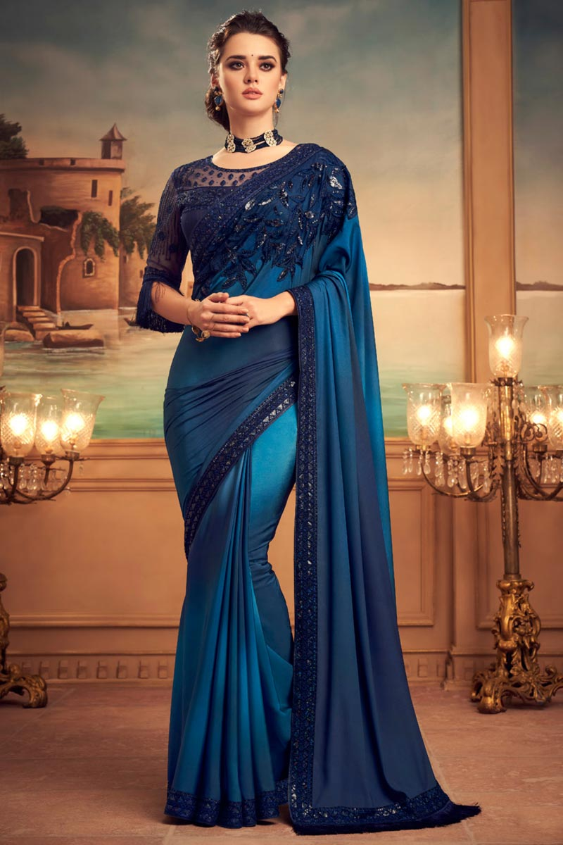 Navy Blue Color Art Silk Fabric Party Wear Saree