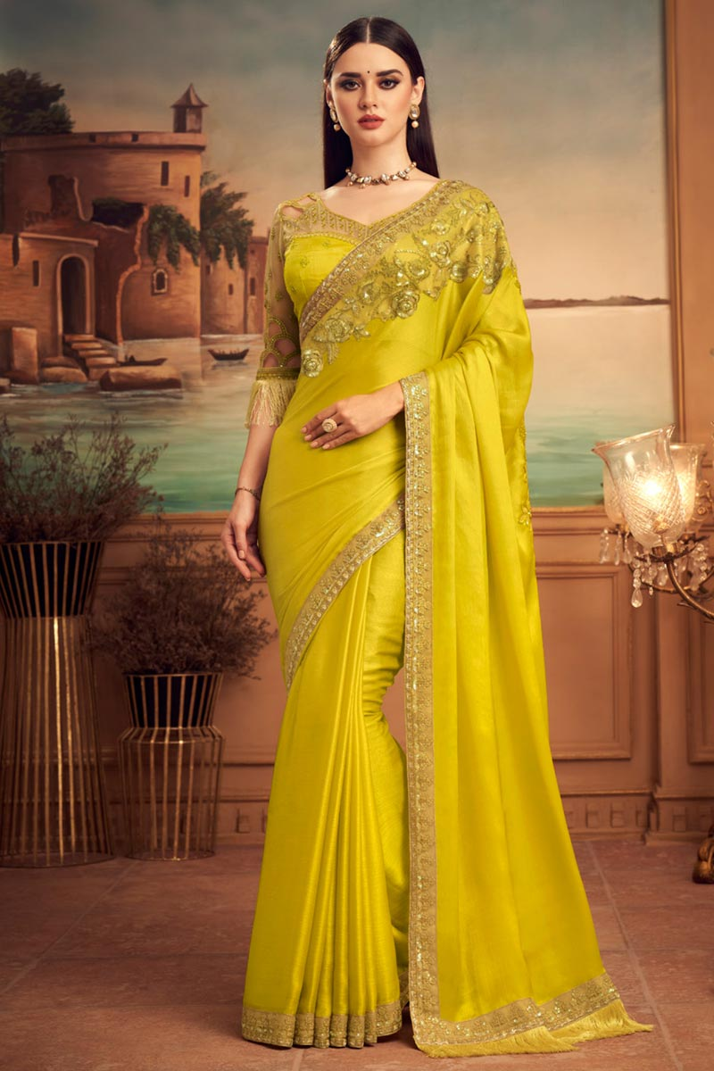 Yellow Color Art Silk Fabric Party Wear Saree