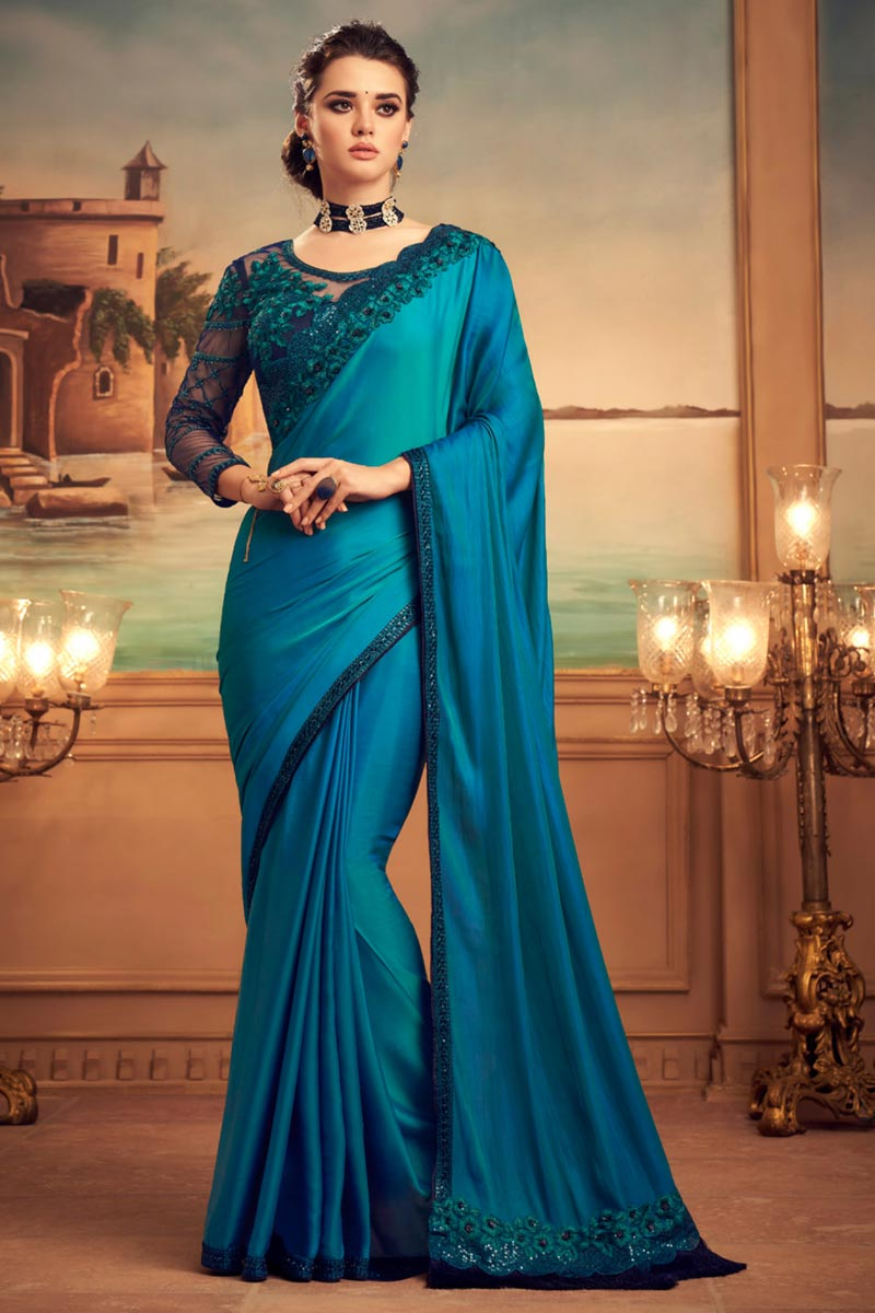 Art Silk Fabric Sky Blue Color Saree For Wedding Function